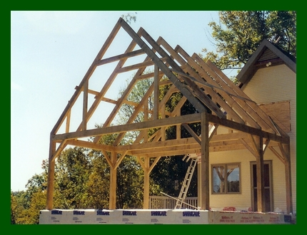 Timber Frame Addition 24' Clearspan with Queen Supports